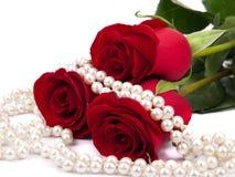 Rojo color de rosa y perlas Fotografía de archivo
