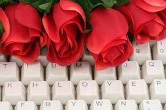 Rojo color de rosa y teclado Imagenes de archivo