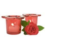 Rojo color de rosa y velas Foto de archivo libre de regalías