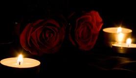 Rojo color de rosa y velas en la oscuridad Imágenes de archivo libres de regalías