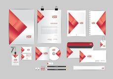 Rojo con la plantilla de la identidad corporativa del triángulo para su negocio Fotografía de archivo