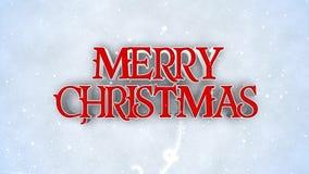 Rojo de la Feliz Año Nuevo de la Feliz Navidad en el lazo blanco de la nieve 4K almacen de video