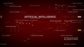Rojo de la inteligencia artificial de las palabras claves stock de ilustración