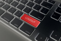 Rojo de la llave de ordenador - salida del sistema imágenes de archivo libres de regalías