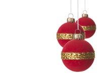Rojo de la Navidad, del ornamento de la Navidad y oro Fotos de archivo libres de regalías
