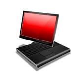 Rojo de la PC de la tablilla del cuaderno Imagen de archivo