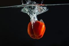 Rojo de la pimienta dulce en agua Foto de archivo libre de regalías