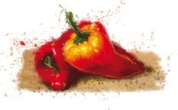 Rojo de la pimienta en la tabla Fotos de archivo libres de regalías