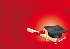 rojo de la tarjeta de felicitación de la universidad del título universitario Imagen de archivo libre de regalías