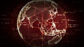Rojo de los datos del mundo de Digitaces stock de ilustración