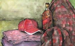 Rojo de Naturmort de la botella Fotografía de archivo