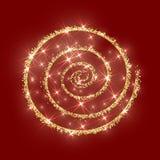 Rojo de oro de la textura de la Navidad del extracto del vector del círculo del brillo del oro Fotos de archivo