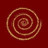 Rojo de oro de la textura de la Navidad del extracto del vector del círculo del brillo del oro Foto de archivo