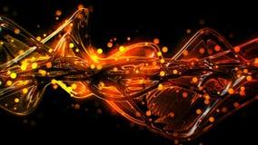 Rojo de oro futurista del extracto y ondas de cristal fundidas y ondulación amarillas ilustración del vector