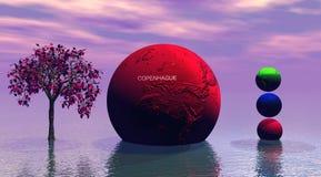 Rojo del árbol y del mundo stock de ilustración