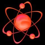 Rojo del átomo - fondo negro Foto de archivo libre de regalías