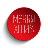 Rojo del botón del icono de la Feliz Navidad Imagen de archivo libre de regalías