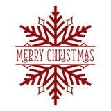 Rojo del copo de nieve de la Feliz Navidad en blanco Imagen de archivo
