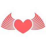 Rojo del corazón con las alas Fotos de archivo