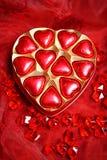 Rojo del corazón del chocolate Fotos de archivo