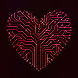 Rojo del corazón del circuito Foto de archivo