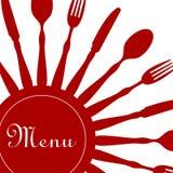 Rojo del diseño del menú del restaurante Foto de archivo
