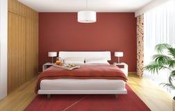 Rojo del dormitorio del diseño interior Imágenes de archivo libres de regalías
