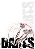 Rojo del fondo del cartel del círculo de los dardos stock de ilustración
