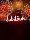 Rojo del fuego artificial del aniversario del jubileo de Jubiläum del alemán Foto de archivo libre de regalías