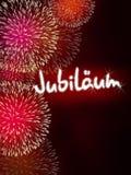 Rojo del fuego artificial del aniversario del jubileo de Jubiläum del alemán Imágenes de archivo libres de regalías