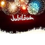Rojo del fuego artificial del aniversario del jubileo de Jubiläum del alemán Fotos de archivo