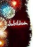 Rojo del fuego artificial del aniversario del jubileo de Jubiläum del alemán Fotografía de archivo libre de regalías