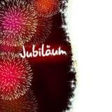 Rojo del fuego artificial del aniversario del jubileo de Jubiläum del alemán Imagen de archivo libre de regalías