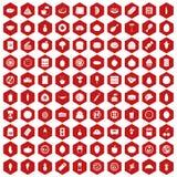 rojo del hexágono de 100 iconos de la nutrición Foto de archivo