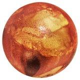 Rojo del huevo de Pascua teñido y adornado con las impresiones de las hojas de la mala hierba aisladas en el fondo blanco Imágenes de archivo libres de regalías