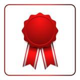 Rojo 1 del icono del premio de la cinta Imagen de archivo libre de regalías