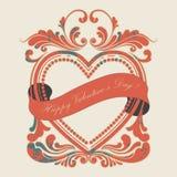 Rojo del marco del grunge del día de tarjeta del día de San Valentín Fotografía de archivo libre de regalías