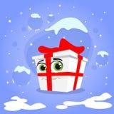 Rojo del personaje de dibujos animados del regalo de Navidad de la caja de regalo Fotos de archivo libres de regalías