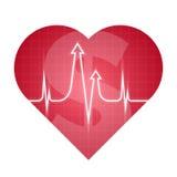 Rojo del pulso del corazón del negocio y de la ciencia Foto de archivo libre de regalías