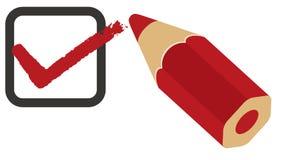 Rojo del rectángulo de verificación del cuestionario Fotografía de archivo