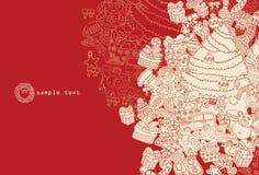 Rojo del tema de la Navidad del dibujo lineal Imágenes de archivo libres de regalías
