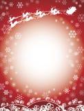 Rojo del trineo de Santa y del reno Fotografía de archivo libre de regalías