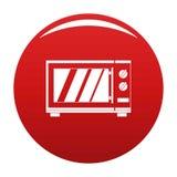 Rojo del vector del icono del horno de microondas de la cocina stock de ilustración