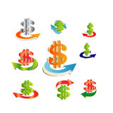 Rojo del verde del oro de la flecha del dólar ilustración del vector