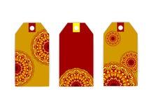 Rojo del yelow del sol de la mandala de la etiqueta Fotos de archivo libres de regalías