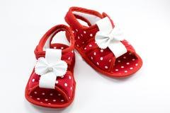Rojo del zapato de bebé Foto de archivo libre de regalías