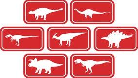 Rojo determinado del emblema rectangular del dinosaurio Fotografía de archivo