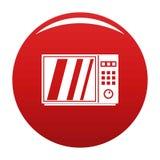 Rojo eléctrico del vector del icono del horno de microondas stock de ilustración