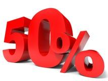 Rojo el cincuenta por ciento apagado Descuento el 50% ilustración del vector