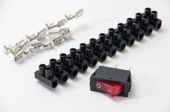 Rojo en del interruptor con las herramientas electrónicas Imagen de archivo libre de regalías